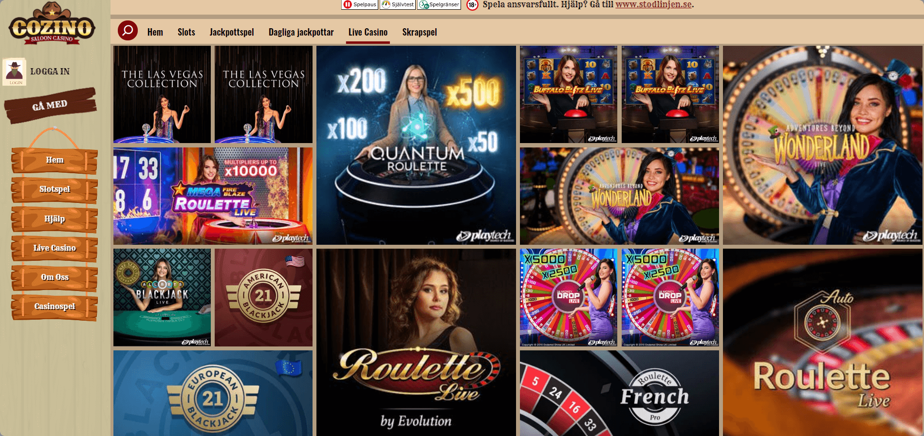 Cozino casino Live casino